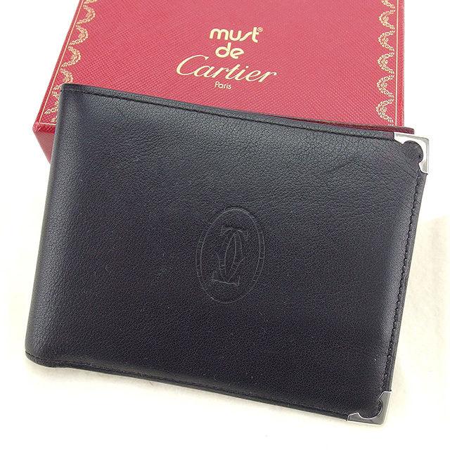 【中古】 カルティエ Cartier 二つ折り財布 メンズ可 カボション ブラック×シルバー×ボルドー レザー 良品 T902 .