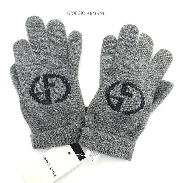 【中古】 ジョルジオ アルマーニ GIORGIO ARMANI 手袋 グローブ レディース グレー×ブラック 毛55%カシミア30%絹15% T904