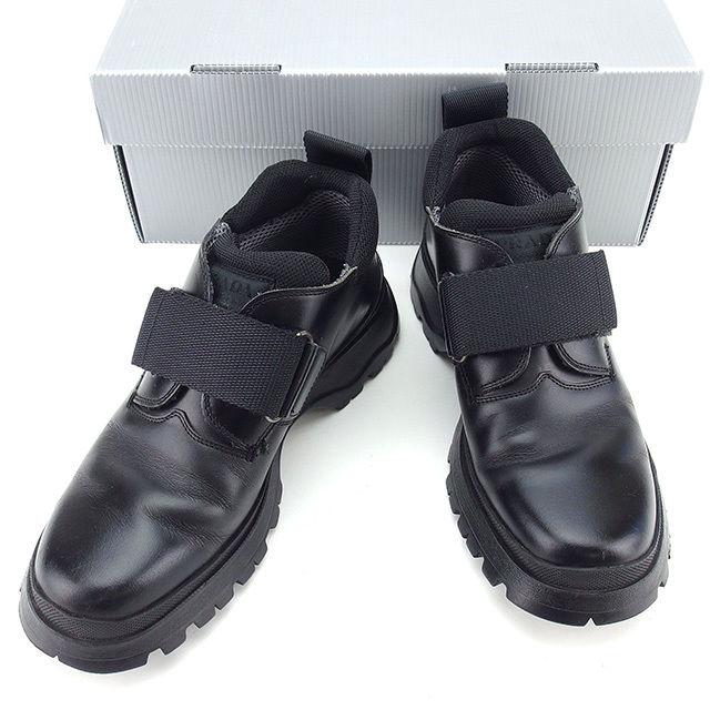 【中古】 プラダ PRADA シューズ 靴 レディース ♯36 ロゴ ブラック レザー 良品 T919 .