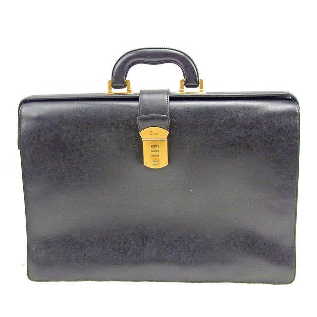 【中古】 ディオール Dior ビジネスバッグ ブリーフケース レディース メンズ 可 ヴィンテージ ダイヤルロック ブラック レザー 人気 T935