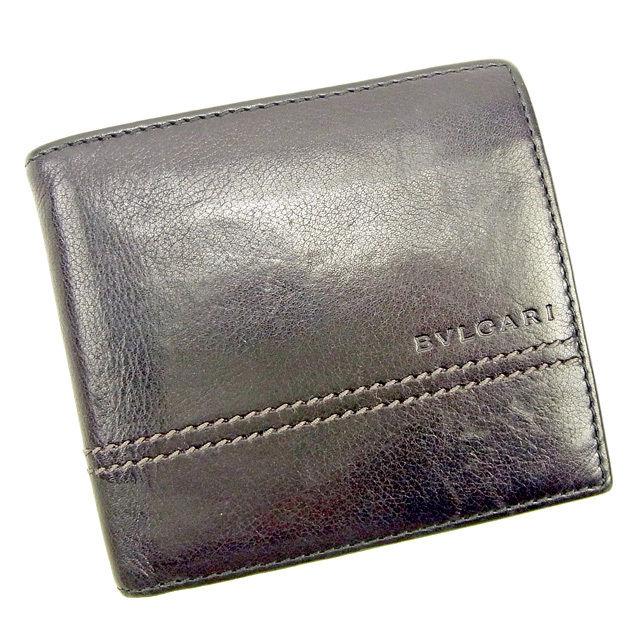 【中古】 ブルガリ BVLGARI 二つ折り財布 レディース メンズ 可 ブラック レザー 人気 T945s .