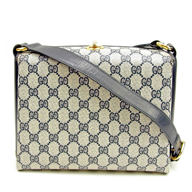 Gucci Gucci shoulder bag shoulder Lady s vintage GG canvas navy X beige PVC  X leather popularity sale T955 37e5a94b8e7b2