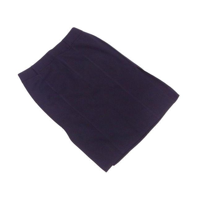 【中古】 バーバリー BURBERRY スカート レディース ♯40サイズ サイドスリット入り ブラック 美品 T992