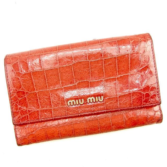 【中古】 ミュウミュウ miu miu 三つ折り財布 レディース クロコダイル型押し レッド PVC×レザー 人気 T997 .