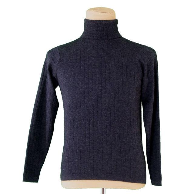 【中古】 ダンヒル dunhill ニット セーター 長袖 メンズ ♯Sサイズ タートルネック ダークグレー カシミアCashmere/40%シルクSilk/30%メリノMerino/30% 美品 T2847 .