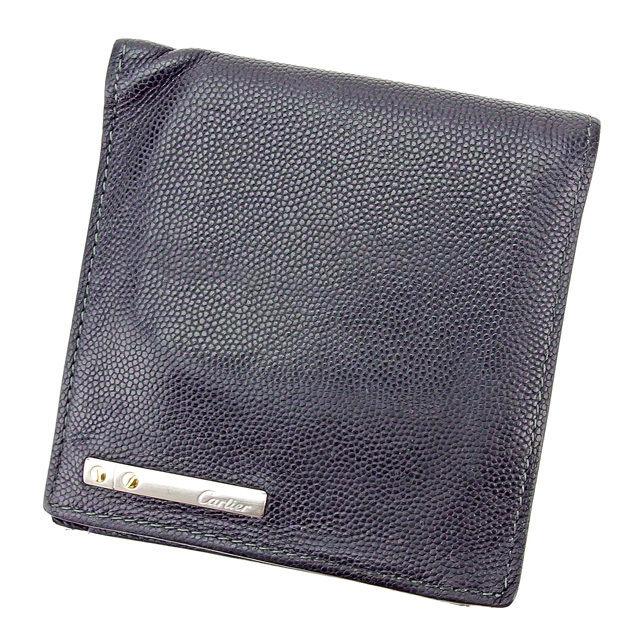 【中古】 カルティエ Cartier 二つ折り 財布 メンズ可 ブラック レザー 人気 T2871 .