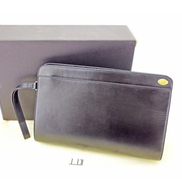 【中古】 ダンヒル Dunhill クラッチバッグ セカンドバッグ メンズ可 ブラック×ゴールド レザー 人気 良品 T2886 .