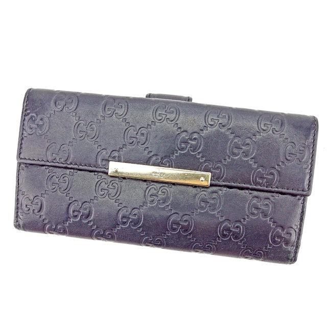 【中古】 グッチ Gucci Wホック 財布 二つ折り 長財布 メンズ可 グッチシマ ブラック×ゴールド レザー 人気 T2892 .