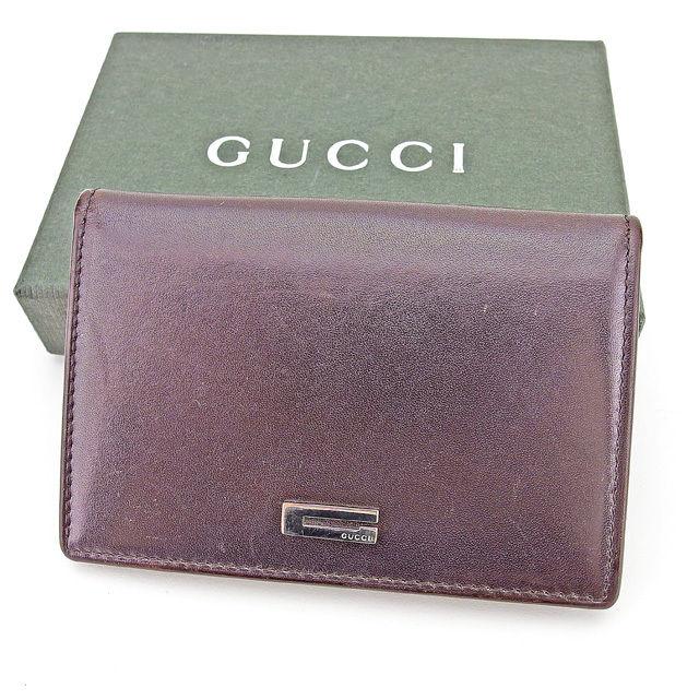 【中古】 グッチ Gucci 名刺入れ カードケース カード 定期入れ ケース メンズ可 ブラウン レザー T2909