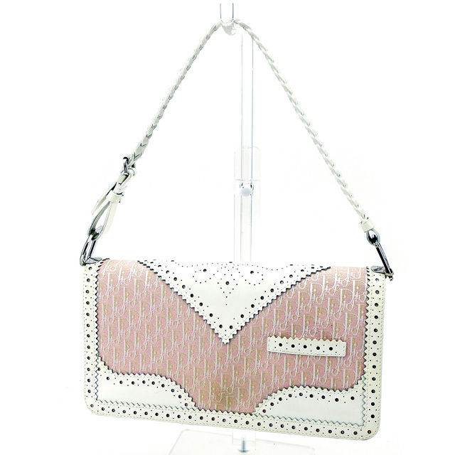 【中古】 ディオール Dior ハンドバッグ バッグ レディース トロッター ピンク×ホワイト キャンバス×レザー 美品 T2910
