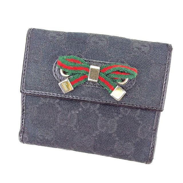 【中古】 グッチ Gucci Wホック 財布 二つ折り 財布 メンズ可 GGキャンバス ブラック キャンバス×レザー 人気 良品 T2927
