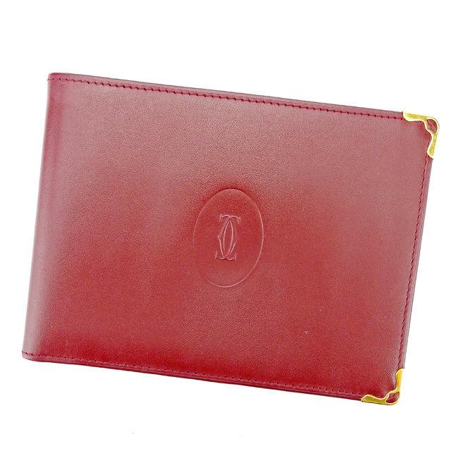 【中古】 カルティエ Cartier 二つ折り 札入れ 財布 メンズ可 ボルドー レザー T2937