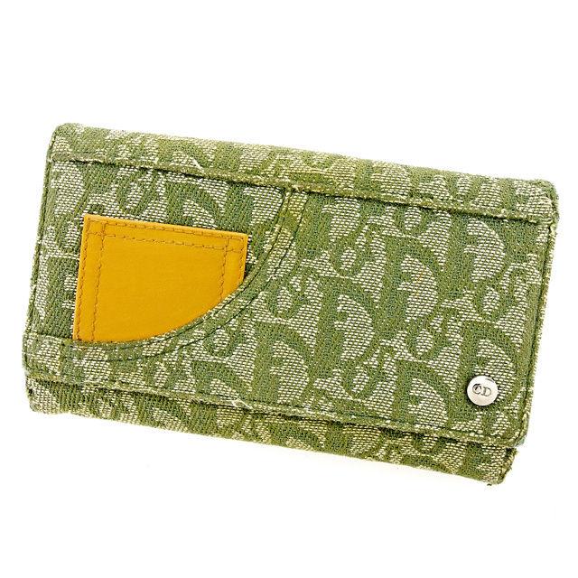 【中古】 ディオール Dior Wホック 財布 二つ折り 財布 メンズ可 トロッター グリーン×キャメル キャンバス×レザー 廃盤 レア 人気 T2944