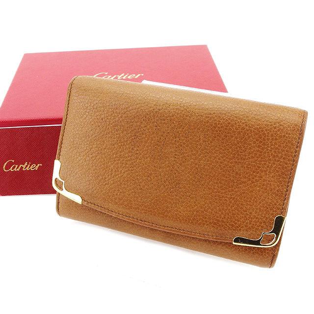 【中古】 カルティエ Cartier L字ファスナー 財布 二つ折り 財布 レディース メンズ 可 マルチェロ キャメル×ゴールド レザー 良品 T2968