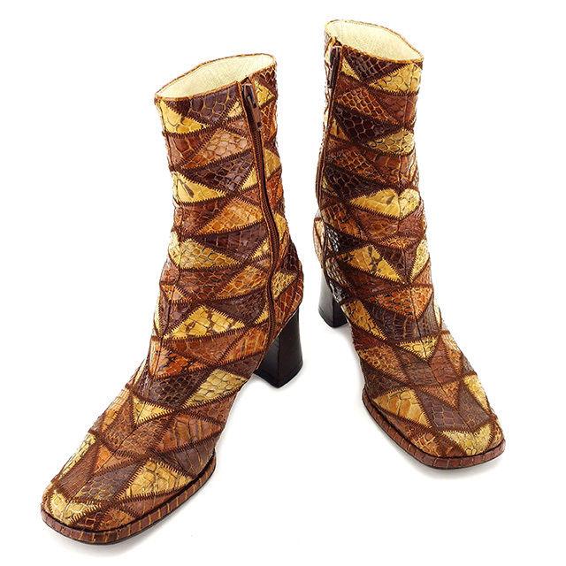 【中古】 ミュウミュウ miu miu ブーツ シューズ 靴 レディース ミドルブーツ ベージュ×ブラウン系 パイソンレザー T2978
