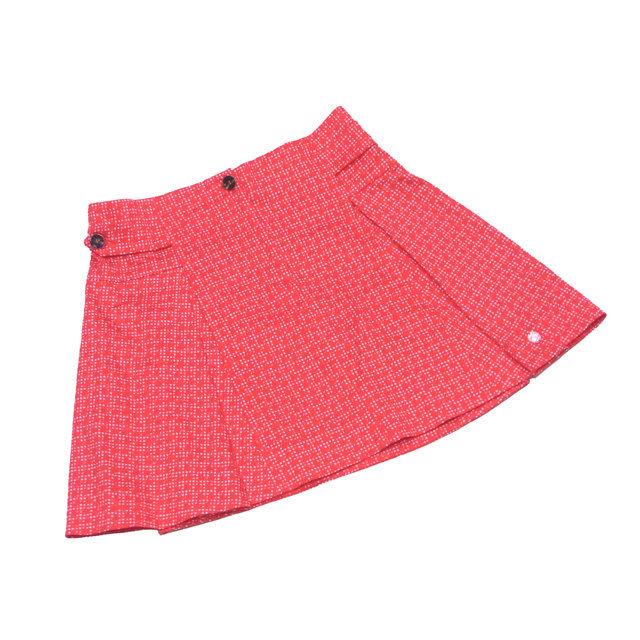 【中古】 ディオール スカート フレアー Dior レッド×ホワイト T2983s