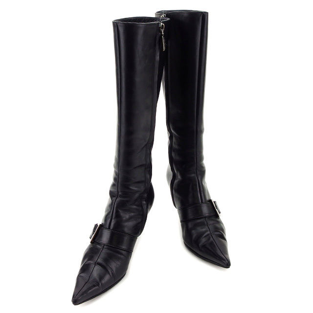 【中古】 ブルーノマリ BRUNOMAGLI ブーツ シューズ 靴 レディース ♯36 ポインテッドトゥ ロング ベルト付き ブラック×ブラックシルバー レザー 人気 T2993 .