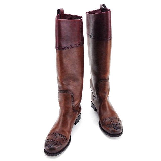 【中古】 ルイ ヴィトン Louis Vuitton ブーツ シューズ 靴 レディース ♯37ハーフ ロング パンチングデザイン ブラウン×ボルドー×ゴールド レザー 良品 T3002