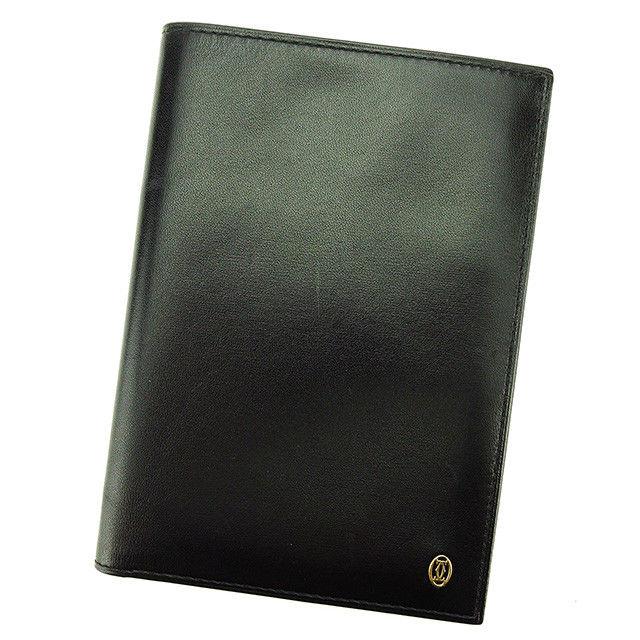 【中古】 カルティエ Cartier パスポートケース 札入れ レディース メンズ 可 パシャ ブラック×ゴールド レザー 美品 T3015