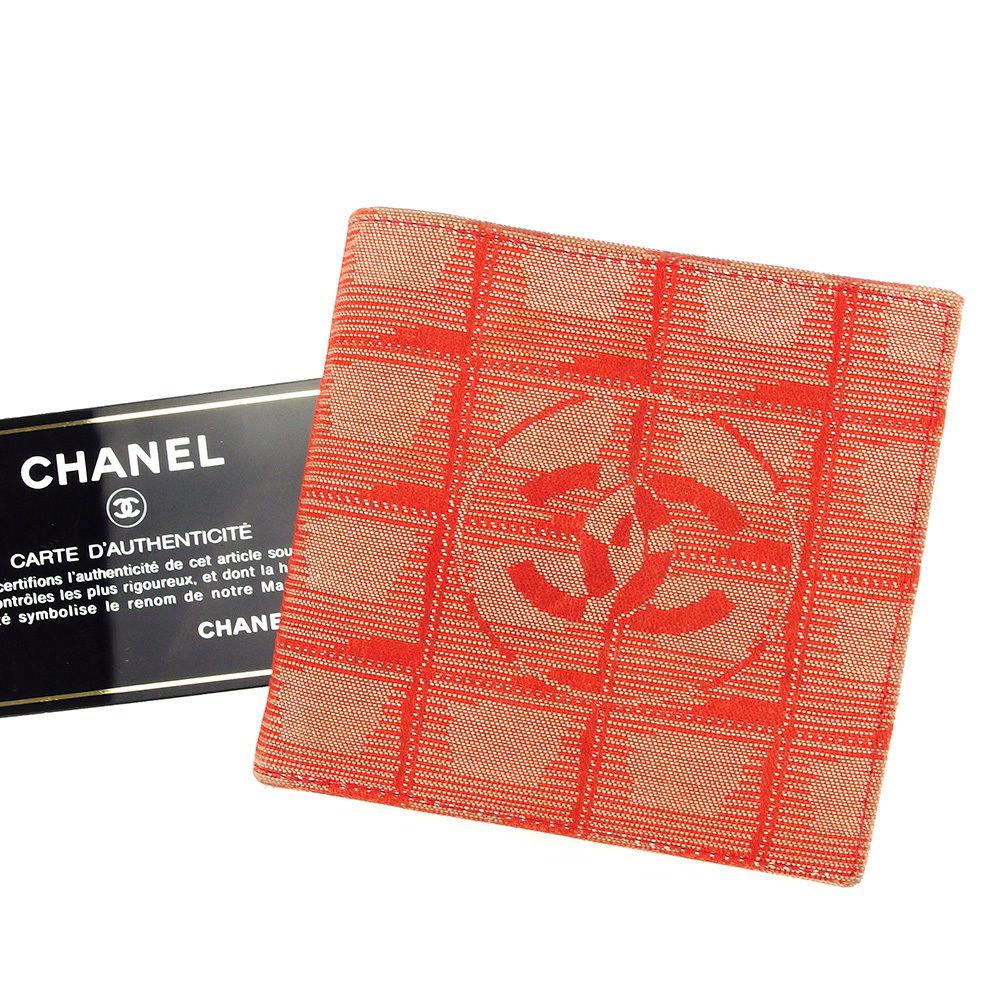 【中古】 シャネル CHANEL 二つ折り財布 財布 メンズ可 ニュートラベルライン レッド ナイロンジャガード×カーフ 人気 ヴィンテージ T3038s .