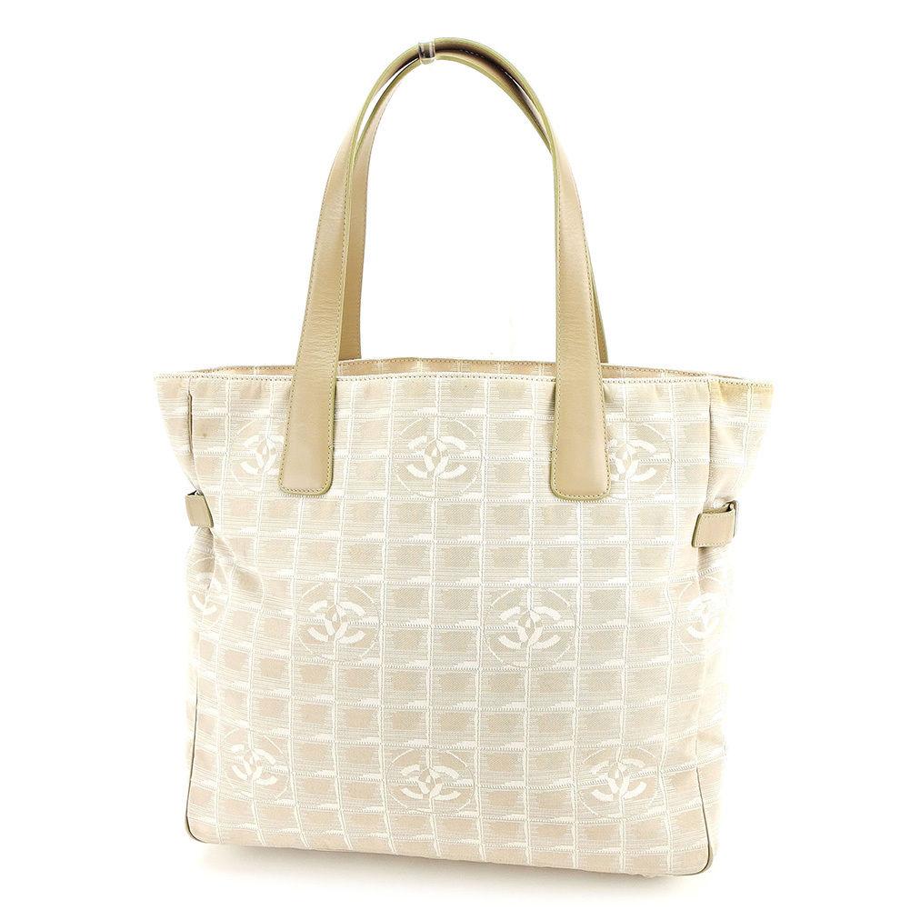 979624307f1a Chanel CHANEL tote bag shoulder bag handbag bag men s possible current  style bell line Thoth GM current style bell line beige nylon jacquard X  calf vintage ...