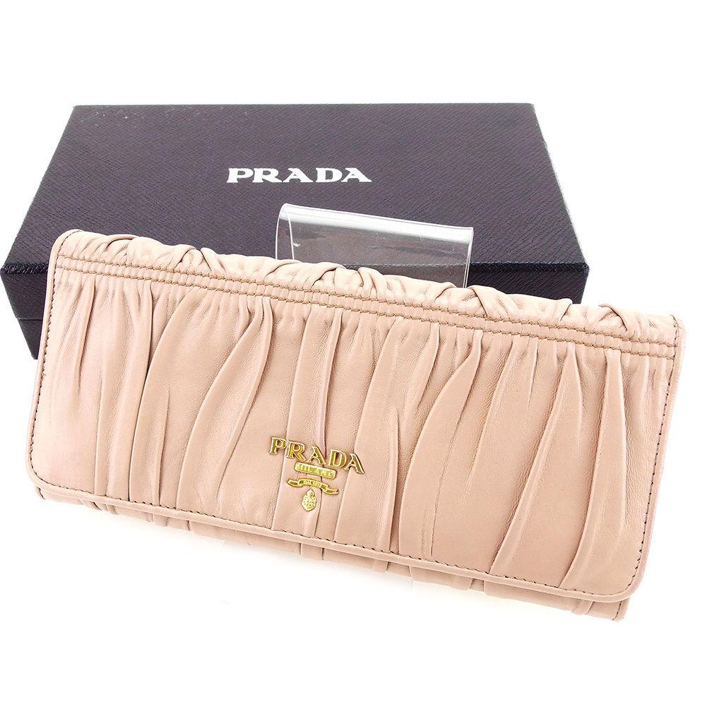 cefb96dcb7e9 【中古】 プラダ PRADA 長財布 二つ折り 財布 メンズ可 ベージュ レザー 美品