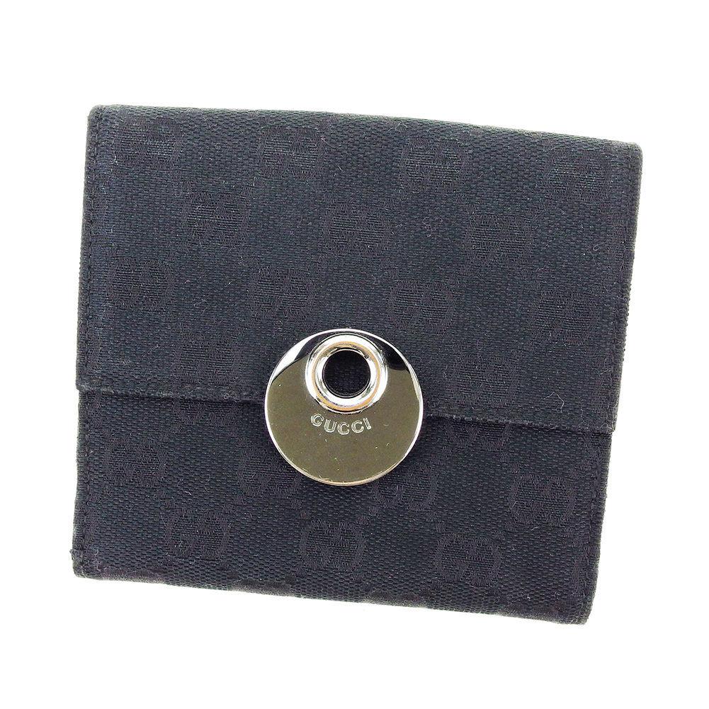 【中古】 グッチ Gucci Wホック財布 二つ折り 財布 メンズ可 GGキャンバス ブラック キャンバス×レザー 人気 良品 T3071 .