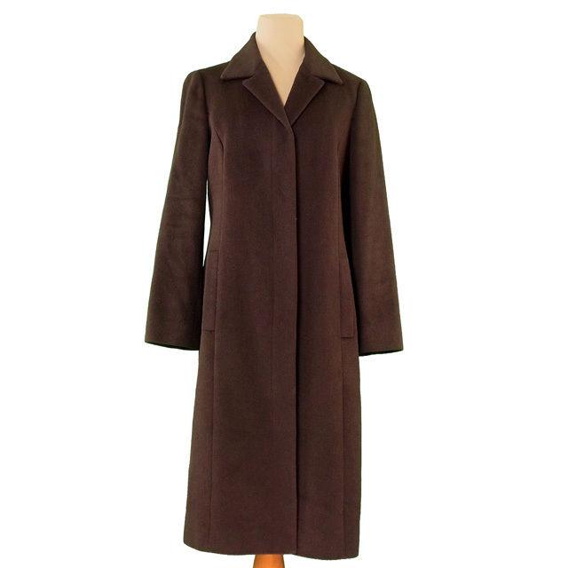【中古】 バーバリー BURBERRY コート ロング レディース ♯38サイズ シングル ダークブラウン アンゴラ65%羊毛35%(身頃裏)ポリエステル(袖裏)キュプラ 美品 T3089 .