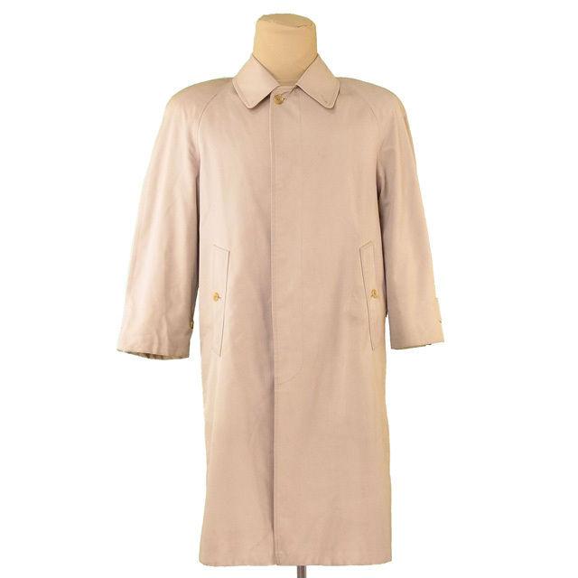 【中古】 バーバリー BURBERRY コート ロング メンズ シングル ステンカラー ベージュ 人気 T3101
