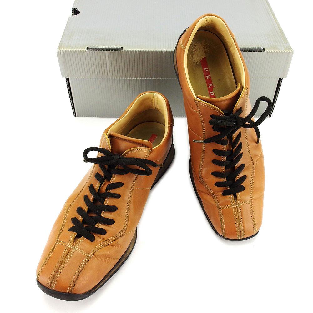 【中古】 プラダ PRADA スニーカー #39 2/1 シューズ 靴 メンズ キャメル レザー 人気 T3103 .