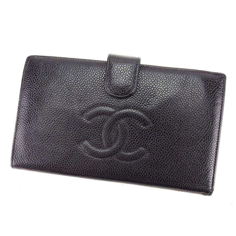 【中古】 シャネル CHANEL がま口 財布 二つ折り財布 メンズ可 キャビアスキン×ココマーク ブラック レザー 人気 良品 T3130