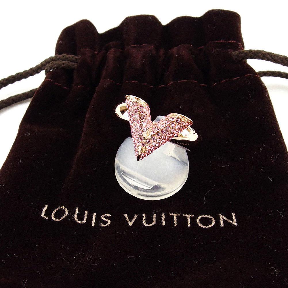 【中古】 ルイ ヴィトン LOUIS VUITTON 指輪 #155 リング アクセサリー メンズ可 エセンシャル V ストラス ゴールド×ピンク スワロフスキー×真鍮 中古 廃盤レア 【未使用】 T3133