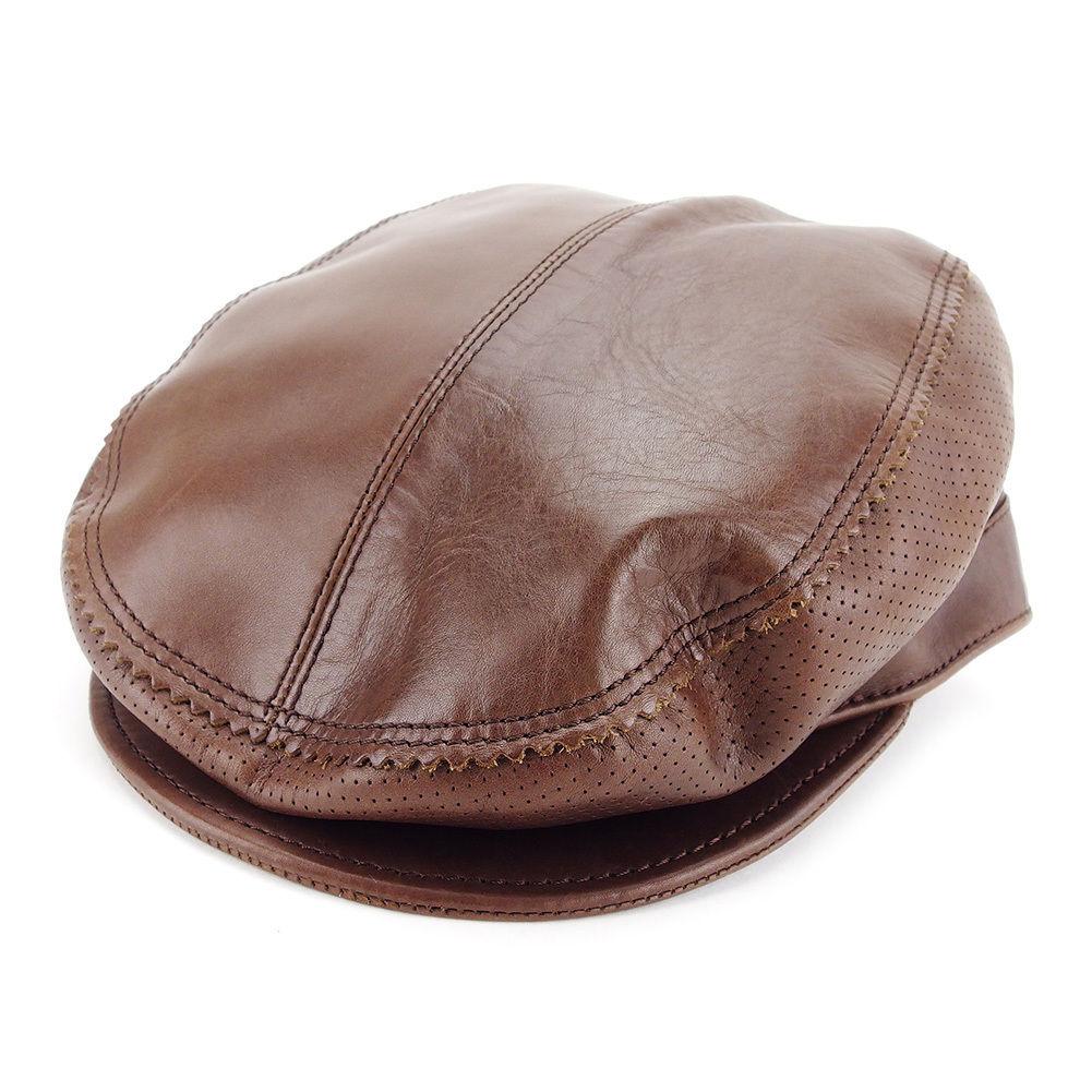 【中古】 グッチ Gucci 帽子 ハンチング帽 レディース メンズ 可 ブラウン レザー 人気 T3195 .