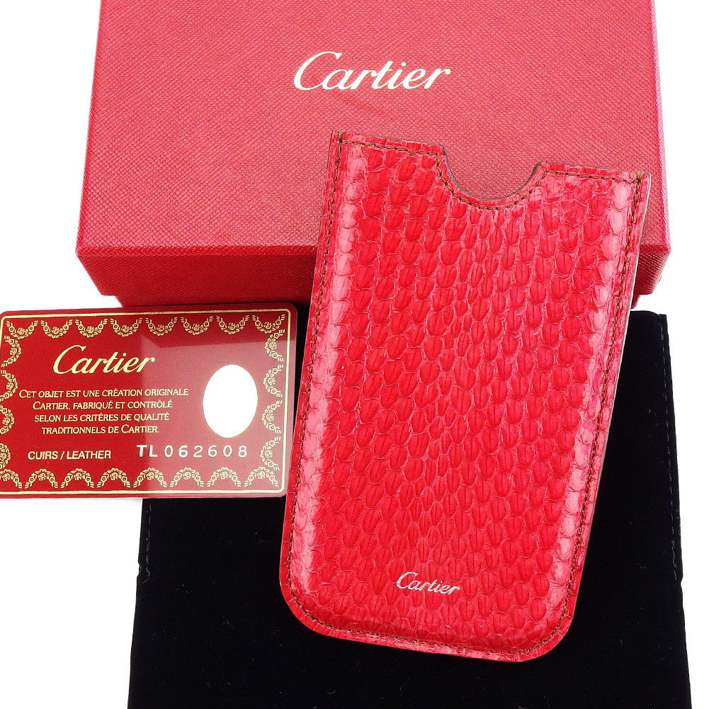 【中古】 カルティエ Cartier スマートフォンケース カードケース レディース メンズ 可 レッド PVC×レザー T3214