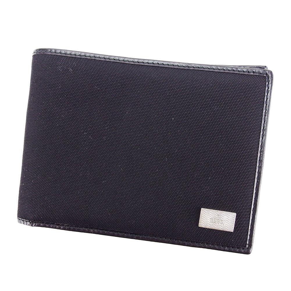 【中古】 グッチ Gucci 二つ折り 札入れ 二つ折り 財布 レディース メンズ 可 ブラック ナイロン×レザー T3222