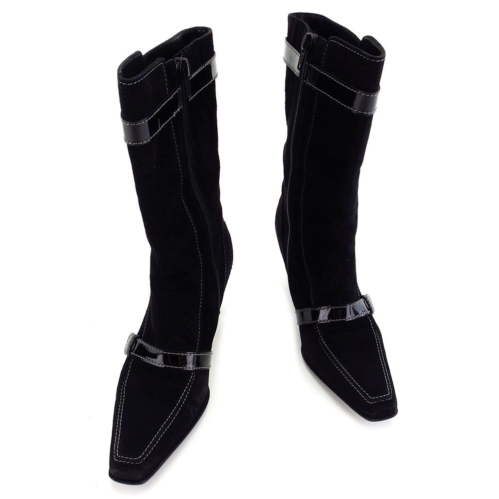 【中古】 サルヴァトーレ フェラガモ Salvatore Ferragamo ブーツ #4 1/2C レディース ヴァラ ブラック スエード×エナメル 人気 T3230 .