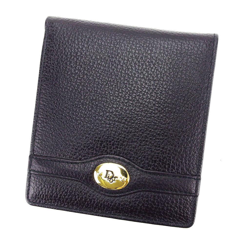 【中古】 ディオール 二つ折り 財布 ロゴ ブラック×ゴールド レザー Dior 二つ折りサイフ 財布 サイフ 収納ブランド ブランド財布 ユニセックス 小物 人気 贈り物 迅速発送 在庫処分 男性 女性 良品 夏 1点物 T3233