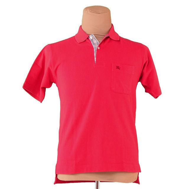 【中古】 バーバリー BURBERRY ポロシャツ 半袖 メンズ ♯Mサイズ ホース刺繍 レッド系 コットン綿100% 良品 T3243