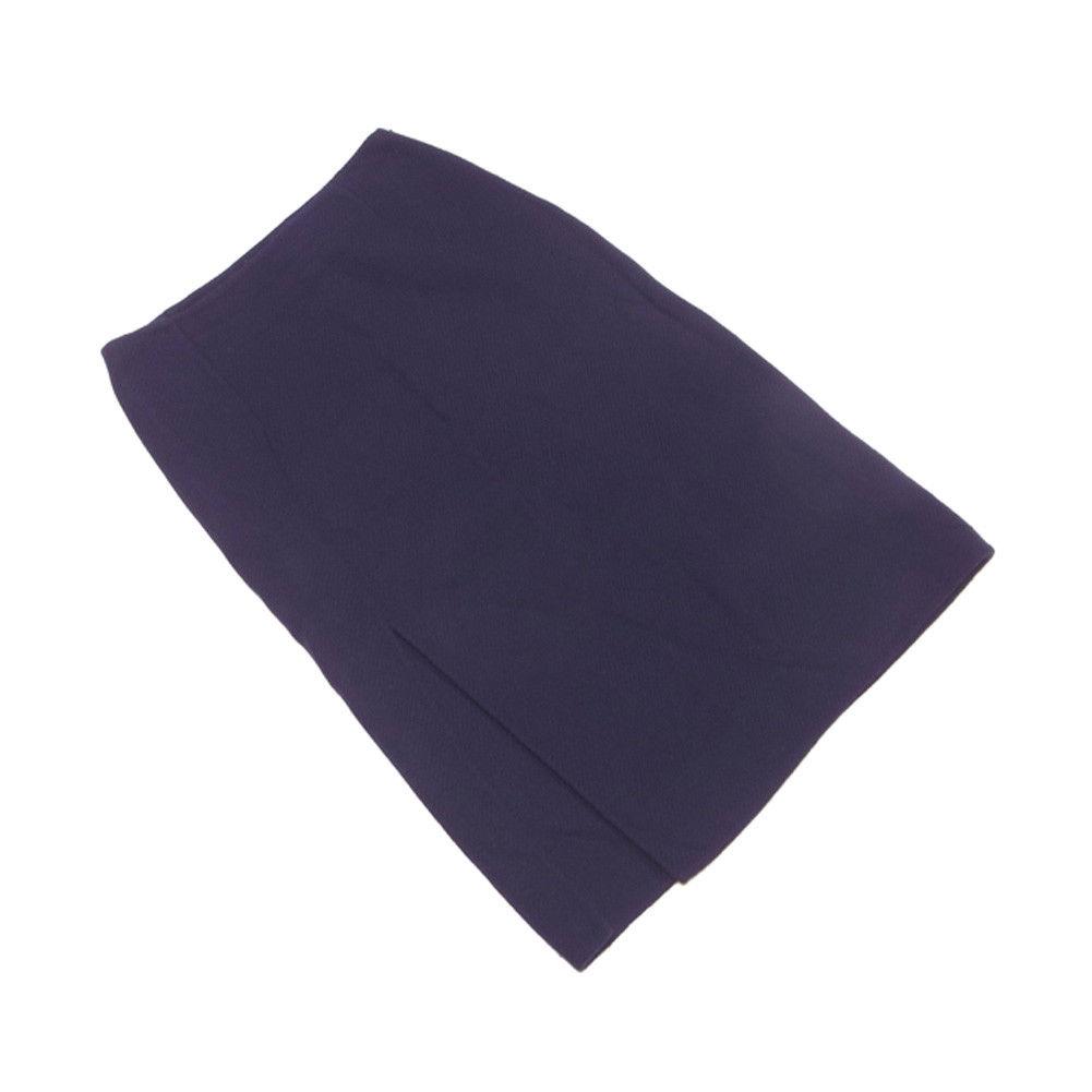 【中古】 プラダ PRADA スカート フレアー レディース ♯40サイズ 前ロングスリット入り ネイビー ウールWOOL/100% 美品 T3289 .