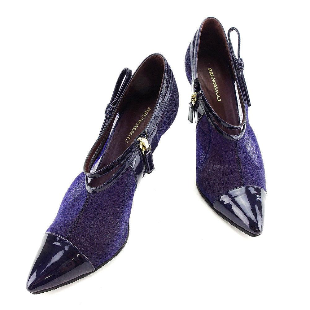 【中古】 ブルーノ マリ BRUNOMAGLI ブーツ パンプス シューズ 靴 レディース ♯39 ポインテッドトゥ ブーティ ダークパープル×ゴールド エナメルレザー×メッシュキャンバス 美品 T3292