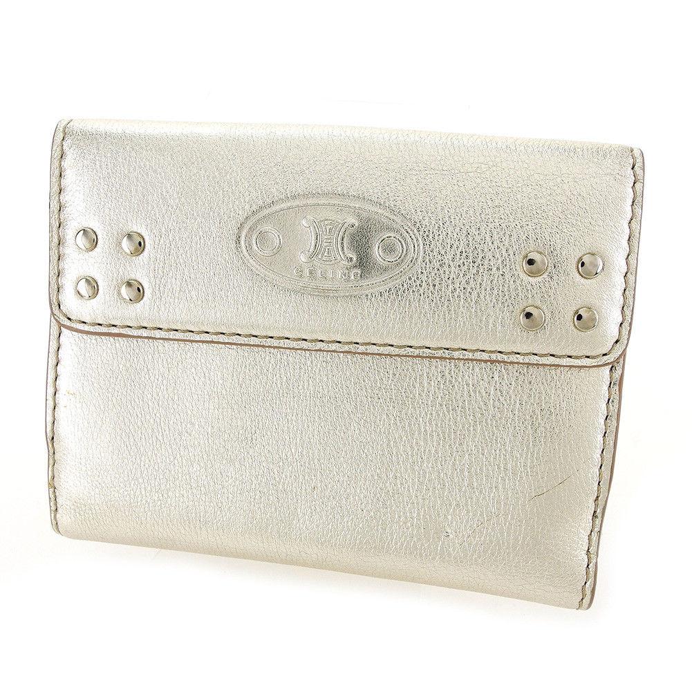 【中古】 セリーヌ CELINE Wホック財布 二つ折り 財布 メンズ可 ゴールド レザー 展示中古 T3326 .