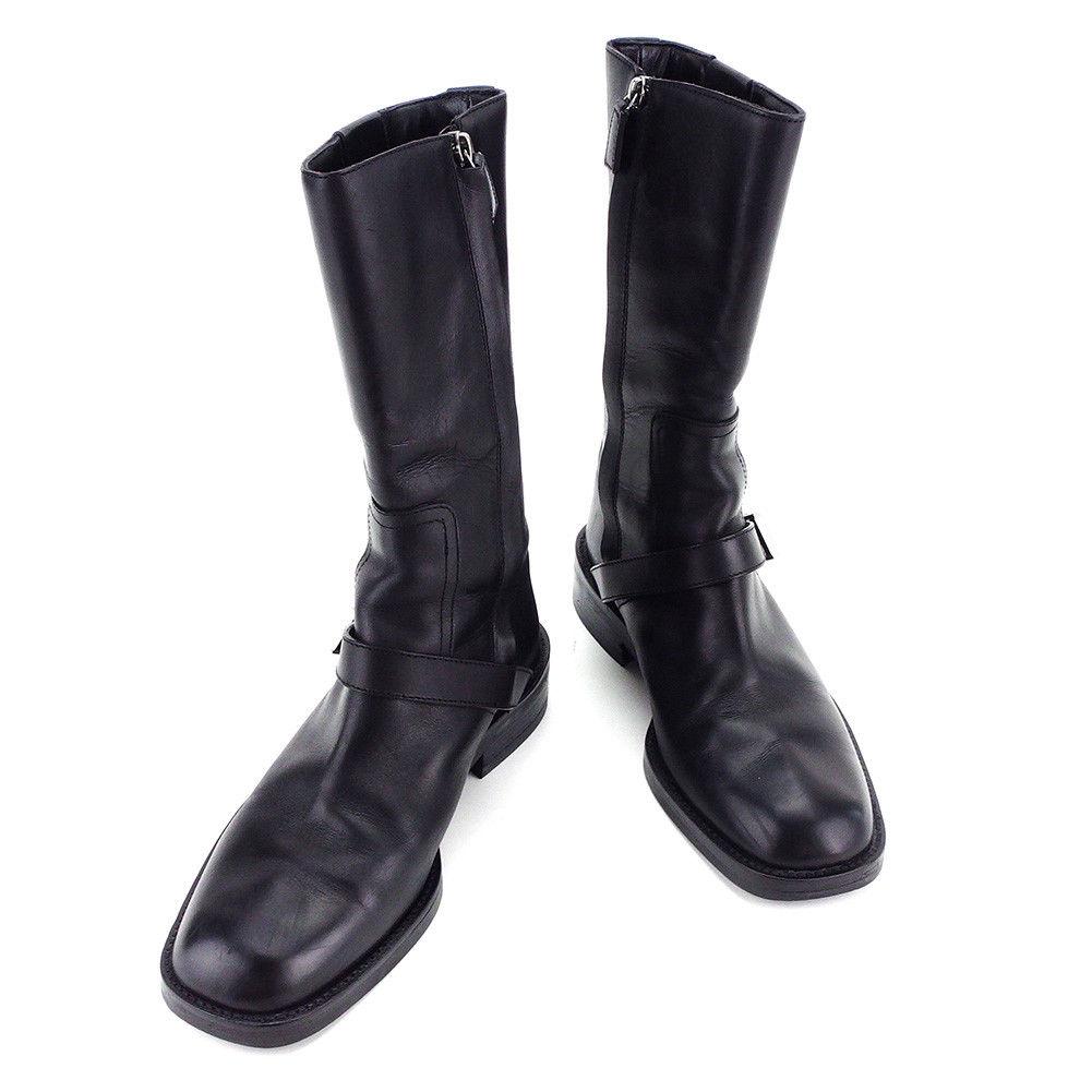【中古】 グッチ GUCCI ブーツ #36 1/2 ハーフブーツ メンズ可 エンジニア ブラック レザー 人気 良品 T3336 .