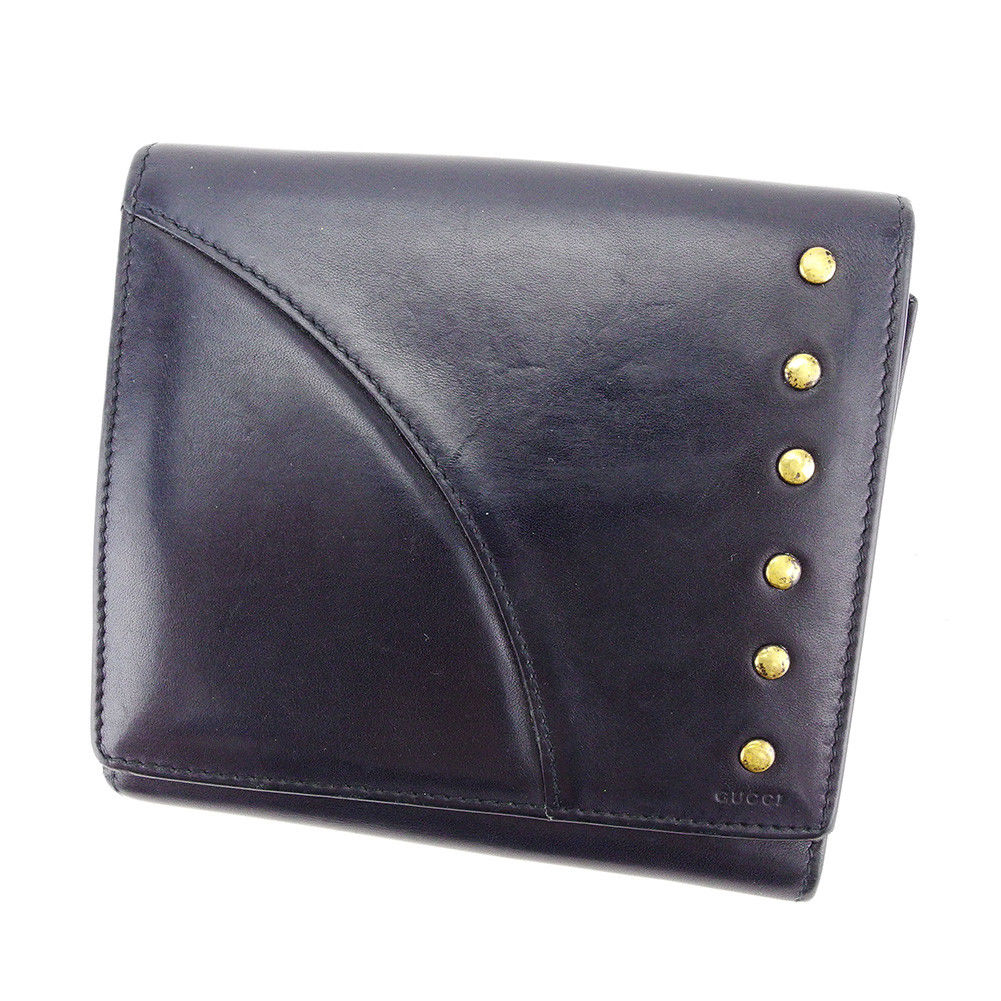 866527254254 【中古】 グッチ GUCCI Wホック 財布 二つ折り 財布 メンズ可 ブラック レザー 人気