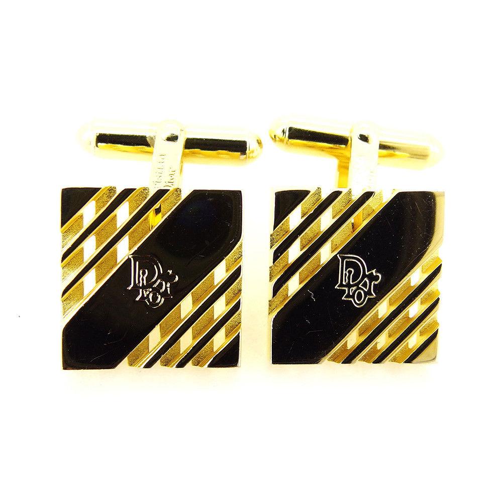 【中古】 ディオール Dior カフス メンズ ゴールド 人気 良品 T3354 .