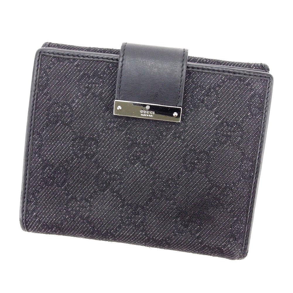 【中古】 グッチ GUCCI Wホック財布 二つ折り 財布 メンズ可 GGキャンバス ブラック キャンバス×レザー 人気 良品 T3355 .