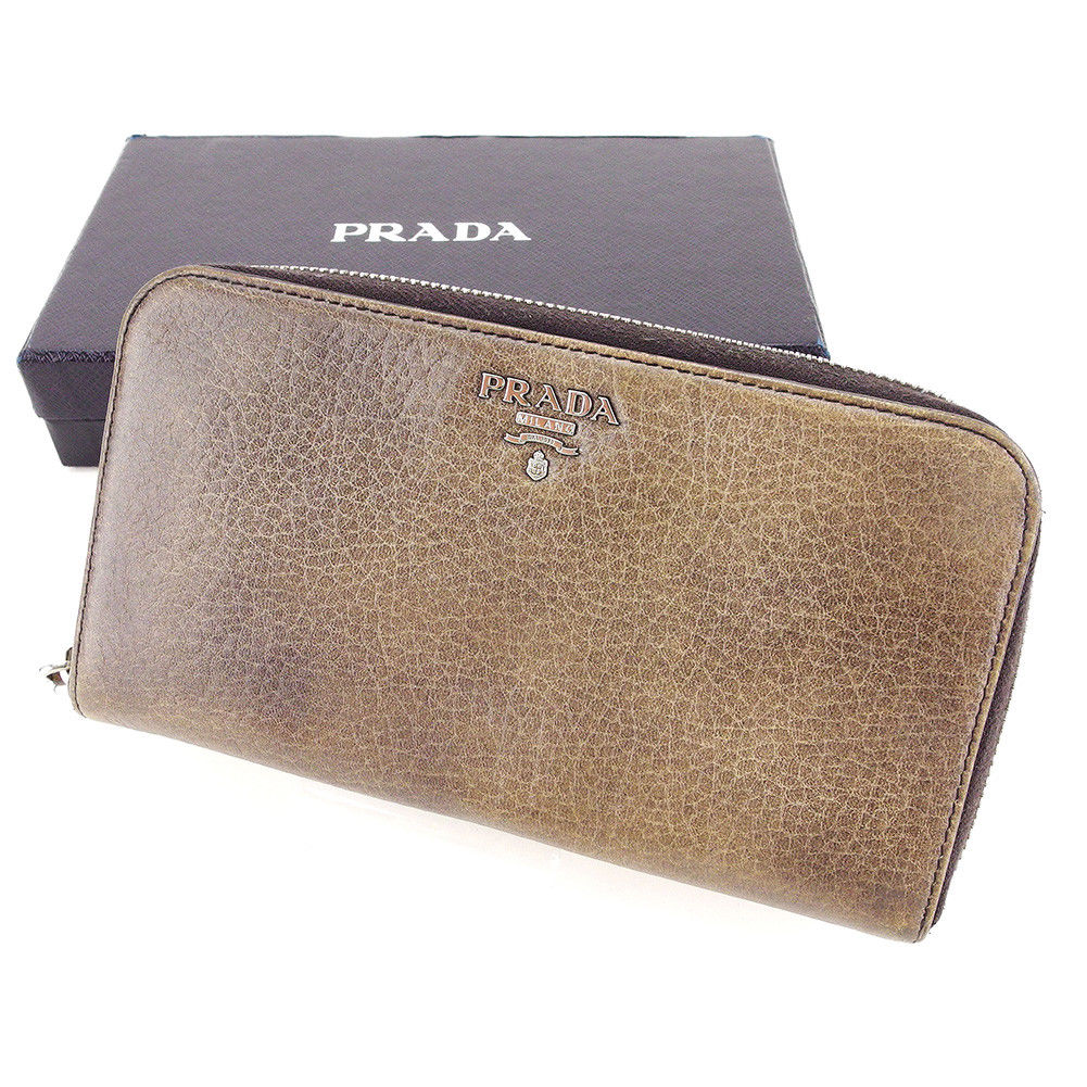 【中古】 プラダ PRADA 長財布 ラウンドファスナー メンズ可 ロゴ ブラウン系 レザー 人気 良品 T3360 .