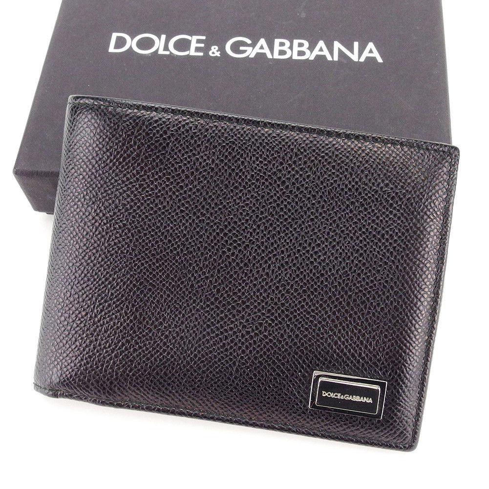【中古】 ドルチェ&ガッバーナ DOLCE&GABBANA 二つ折り 財布 レディース メンズ 可 ブラック レザー 超美品 T3372 .