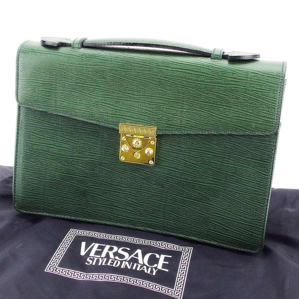【中古】 ヴェルサーチ VERSACE ハンドバッグ ビジネスバッグ レディース メンズ 可 サンバースト ダークグリーン×ゴールド 型押しレザー 超美品 T3463
