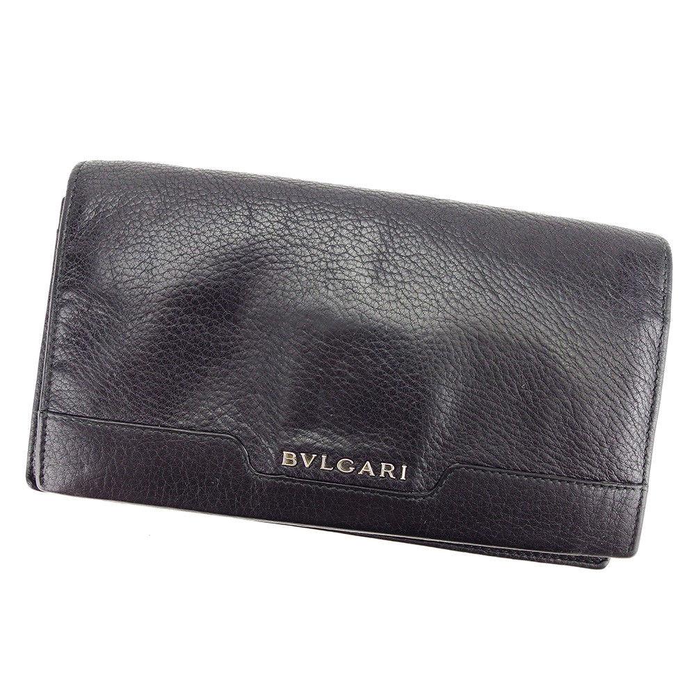 【中古】 ブルガリ BVLGARI 長財布 財布 ファスナー付き メンズ アーバン ブラック×シルバー レザー 人気 T3501