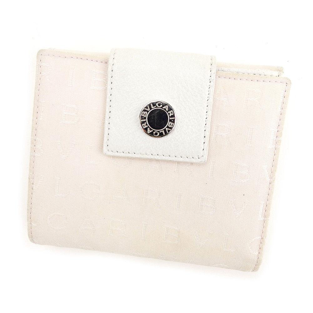 ccf9be839437 【中古】 ブルガリ BVLGARI Wホック 財布 二つ折り レディース ロゴマニア ライトピンク×ホワイト